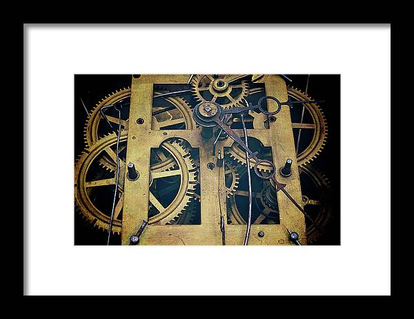 Gear Framed Print featuring the photograph Antique Clock Gears, Cog And Parts by Melissa Ross