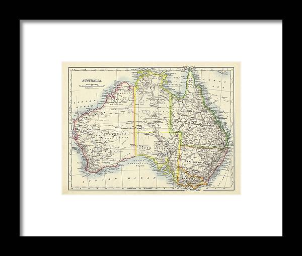 19th Century Style Framed Print featuring the photograph Antique Map Of Australia by Nicholas Free
