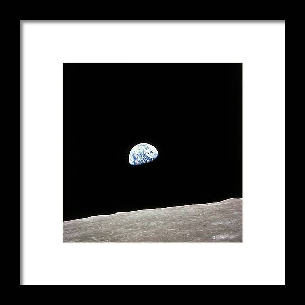 Timeincown Framed Print featuring the photograph Apollo 8 View Of Earth Rise Over The Moo by Time Life Pictures