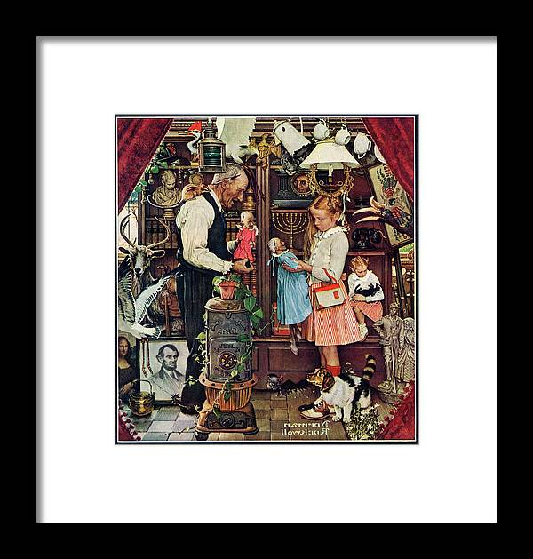 Antiques Framed Print featuring the drawing April Fool, 1948 by Norman Rockwell