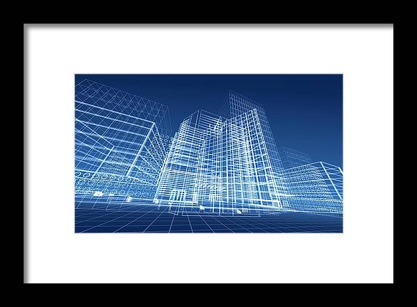 Plan Framed Print featuring the photograph Architectural Blueprint Designs For by Dinn