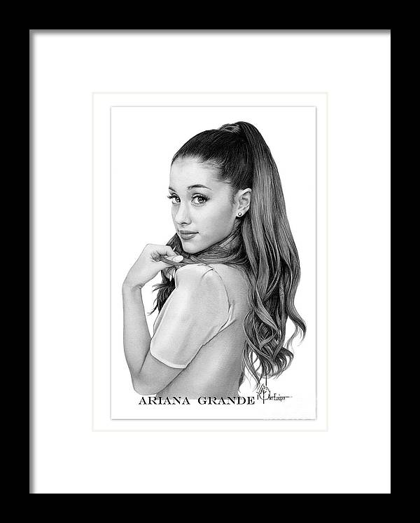 Ariana Grande Framed Print featuring the drawing Ariana Grande drawing by Murphy Elliott