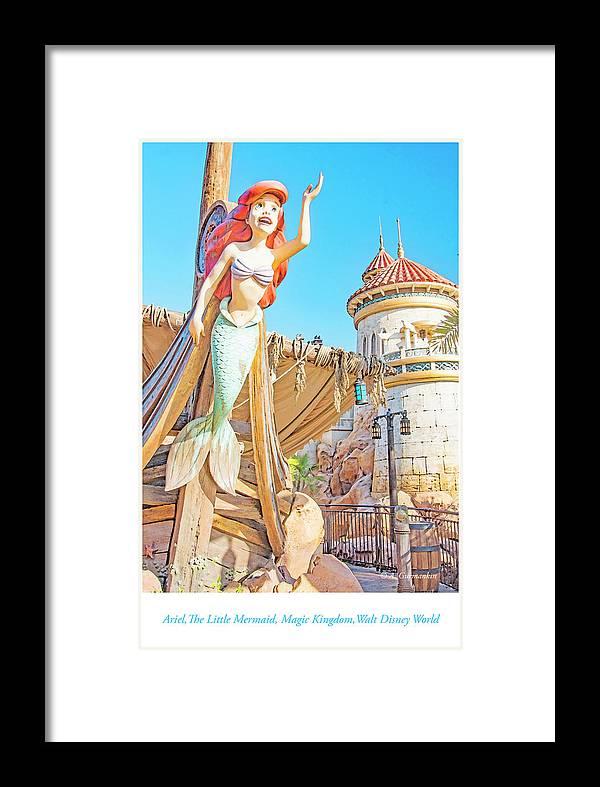 Ariel Framed Print featuring the photograph Ariel, The Little Mermaid, Walt Disney World by A Gurmankin