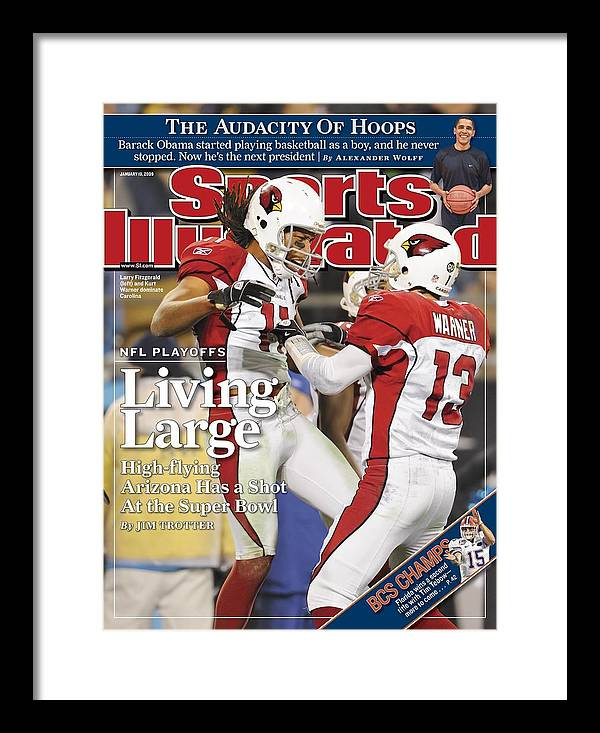 Larry Fitzgerald Framed Print featuring the photograph Arizona Cardinals Larry Fitzgerald, 2009 Nfc Divisional Sports Illustrated Cover by Sports Illustrated