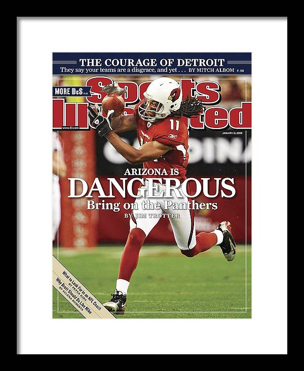 Larry Fitzgerald Framed Print featuring the photograph Arizona Cardinals Larry Fitzgerald, 2009 Nfc Wild Card Sports Illustrated Cover by Sports Illustrated