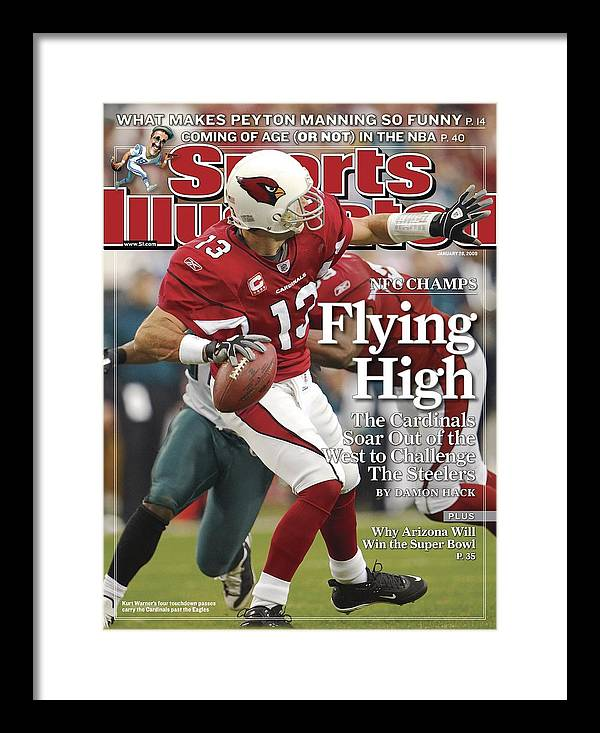 Arizona Cardinals Framed Print featuring the photograph Arizona Cardinals Qb Kurt Warner, 2009 Nfc Championship Sports Illustrated Cover by Sports Illustrated