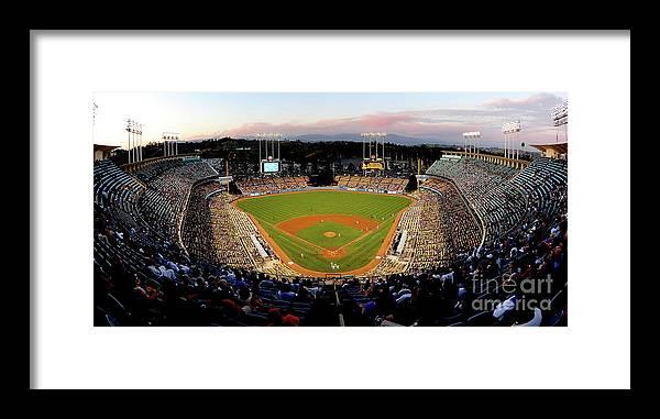 Panoramic Framed Print featuring the photograph Arizona Diamondbacks V Los Angeles by Jacob De Golish