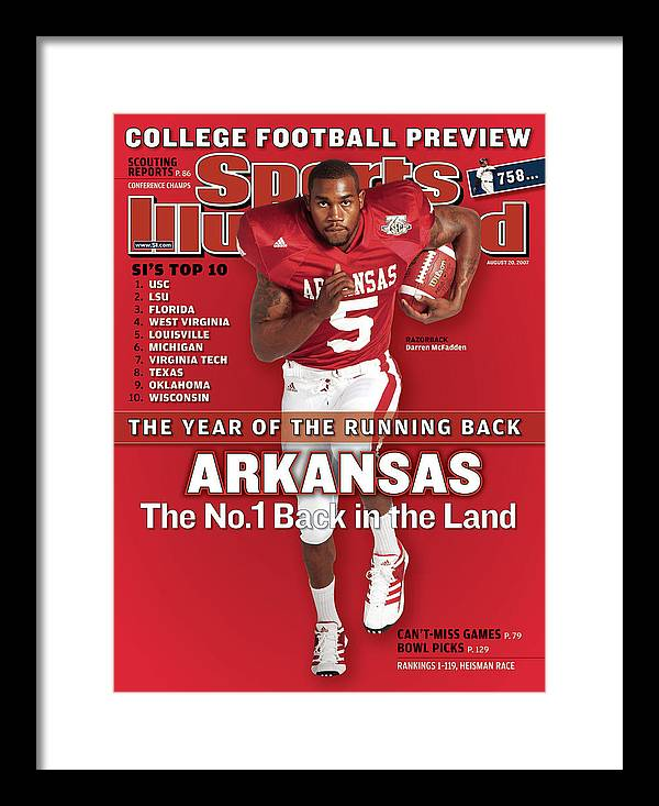 Magazine Cover Framed Print featuring the photograph Arkansas Darren Mcfadden, 2007 College Football Preview Sports Illustrated Cover by Sports Illustrated