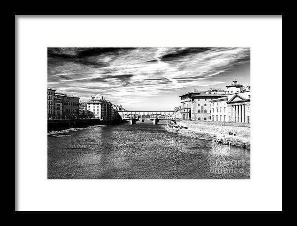 Arno River View Framed Print featuring the photograph Arno River View In Florence by John Rizzuto