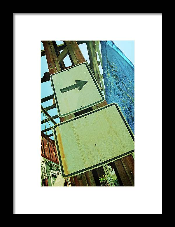 Aging Process Framed Print featuring the photograph Arrow Sign by Naphtalina