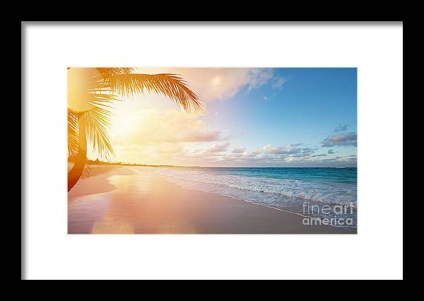 Bermuda Framed Print featuring the photograph Art Beautiful Sunrise Over The Tropical by Konstanttin