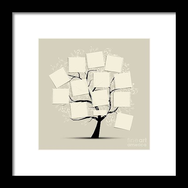 Template Framed Print featuring the digital art Art Tree With Papers For Your Text by Kudryashka
