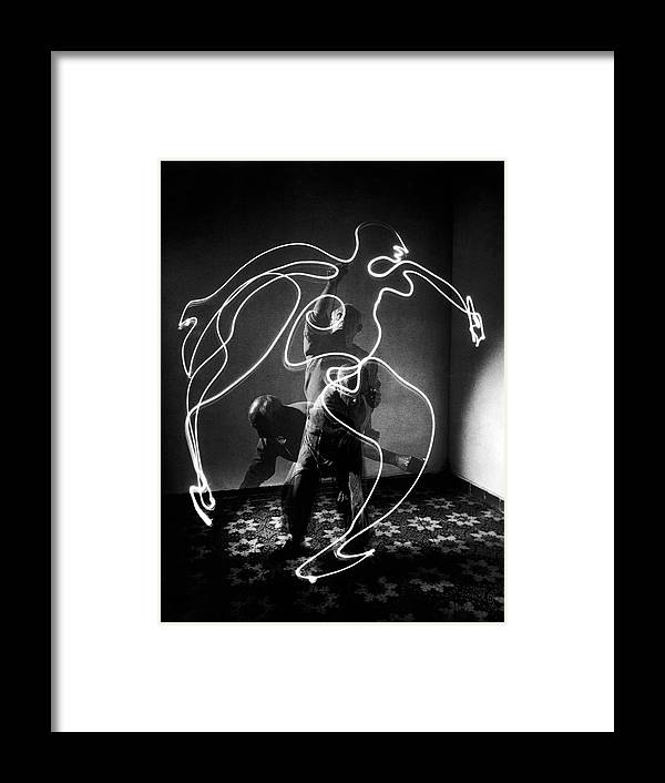 Artist Framed Print featuring the photograph Artist Pablo Picasso Painting With by Gjon Mili