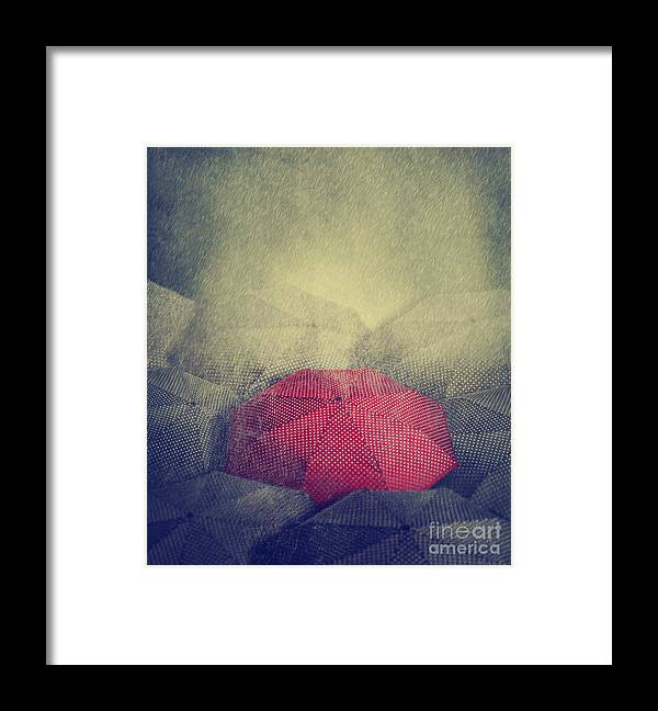 Love Framed Print featuring the photograph Artistic Image Of Red Umbrella Standing by Hitdelight