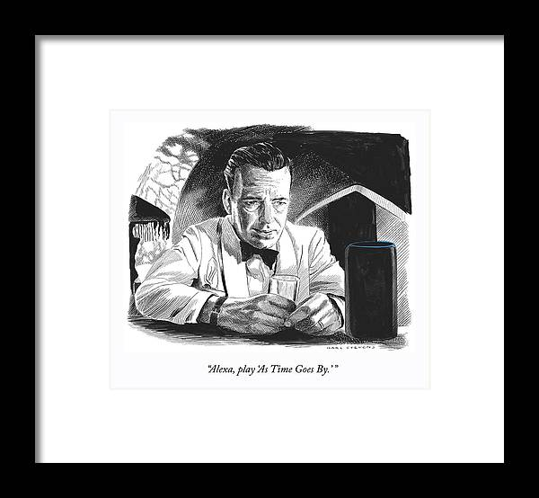 """""""alexa—play 'as Time Goes By.'"""" Framed Print featuring the drawing As Time Goes By by Karl Stevens"""