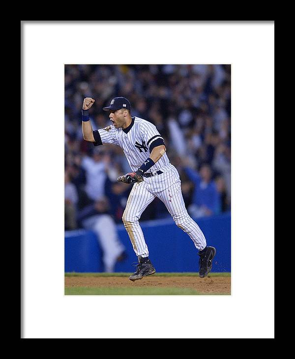 People Framed Print featuring the photograph As V Yankees X Jeter by Ezra Shaw