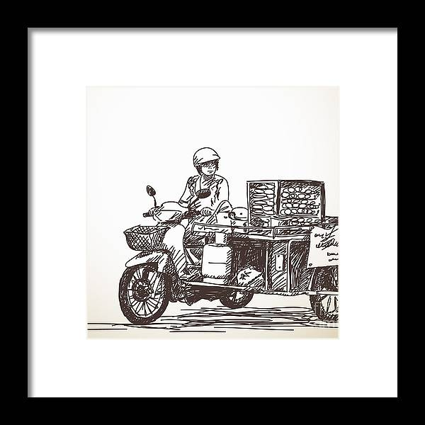 Seller Framed Print featuring the photograph Asian Street Food On Motorbike, Hand by Art Of Line