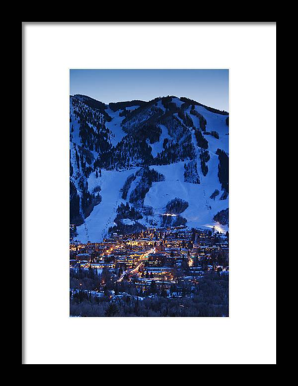 Aspen Framed Print featuring the photograph Aspen Mountain, Winter by Walter Bibikow