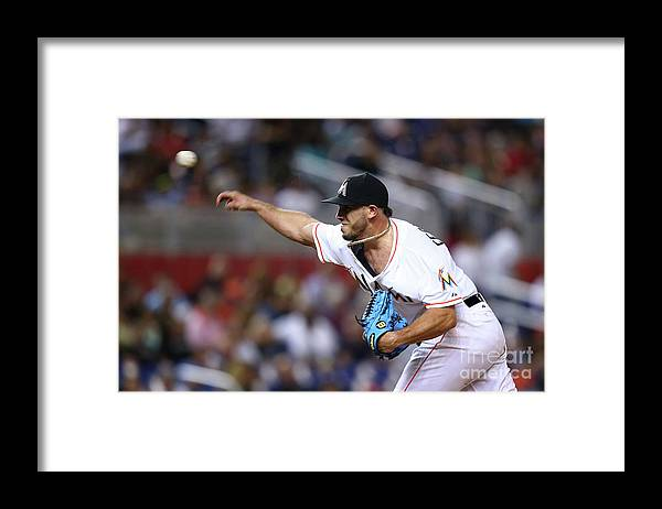 Three Quarter Length Framed Print featuring the photograph Atlanta Braves V Miami Marlins by Rob Foldy