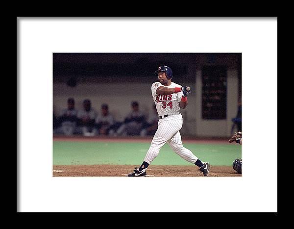 Hubert H. Humphrey Metrodome Framed Print featuring the photograph Atlanta Braves V Minnesota Twins by Rick Stewart
