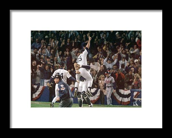 Celebration Framed Print featuring the photograph Atlanta Braves V New York Yankees by Al Bello