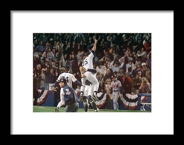 Celebration Framed Print featuring the photograph Atlanta Braves V New York Yankees by Al Bello