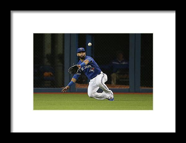 Second Inning Framed Print featuring the photograph Atlanta Braves V Toronto Blue Jays by Tom Szczerbowski