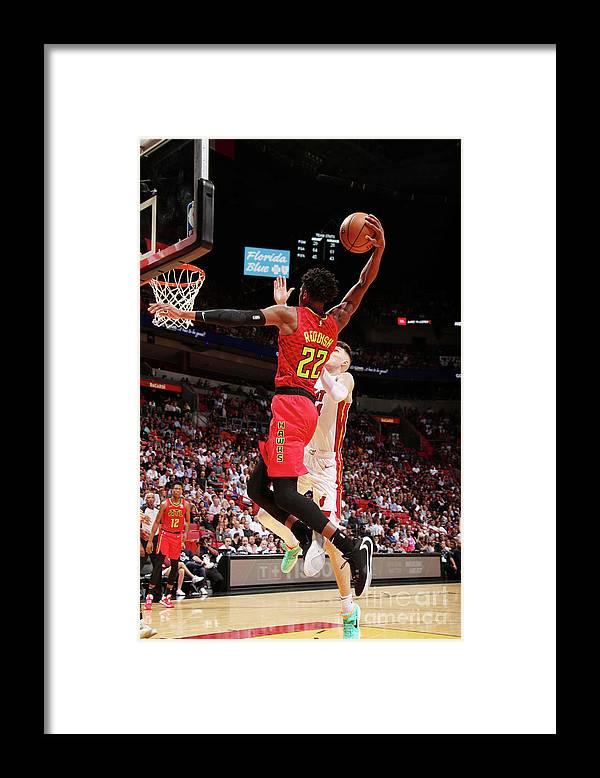 Nba Pro Basketball Framed Print featuring the photograph Atlanta Hawks V Miami Heat by Issac Baldizon