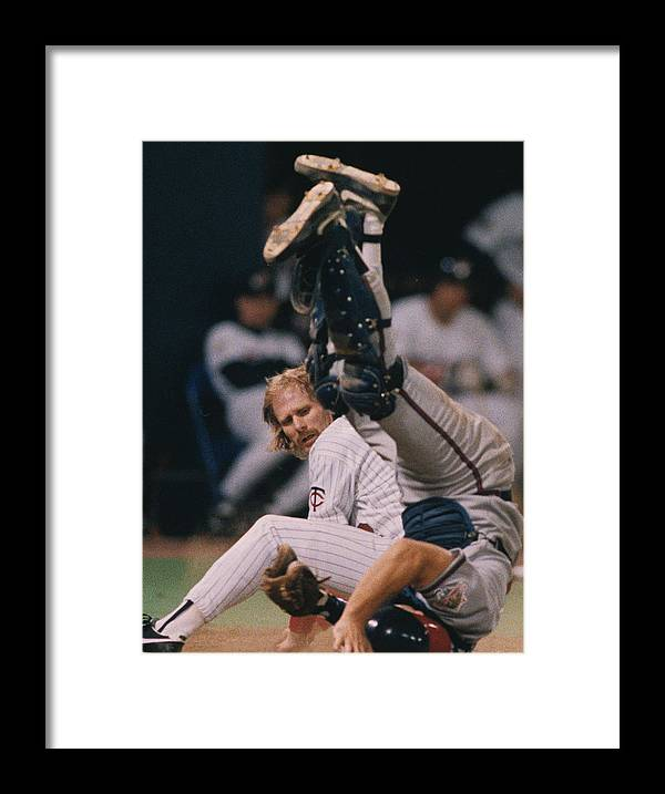 American League Baseball Framed Print featuring the photograph Atltanta Braves V Minnesota Twins by Ronald C. Modra/sports Imagery