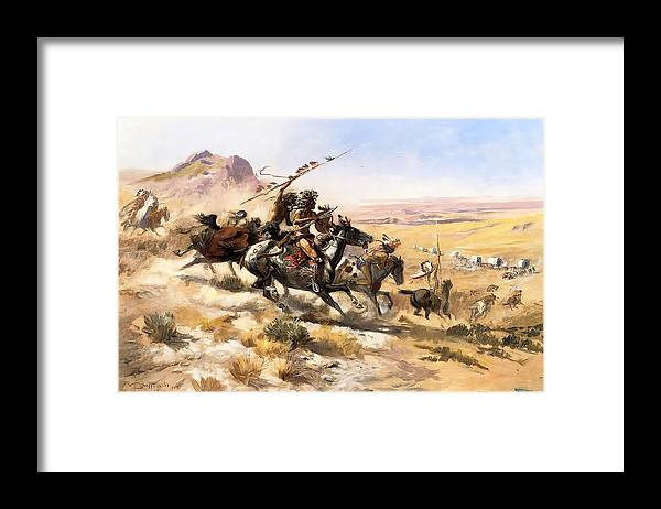 Attack On The Wagon Train Framed Print featuring the digital art Attack On The Wagon Train by Charless Russell