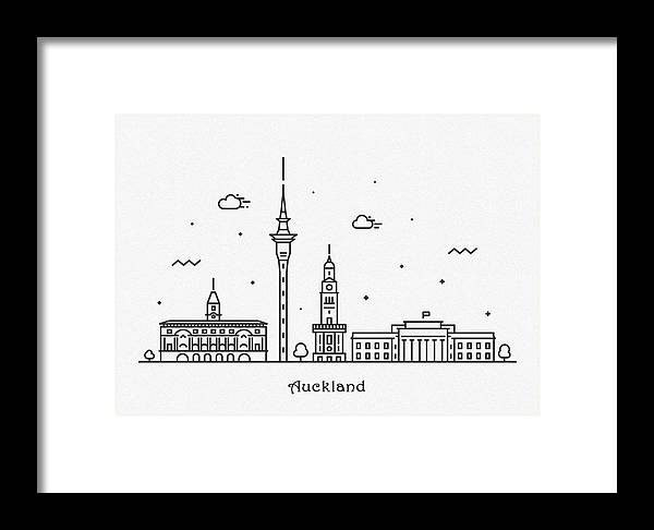 Auckland Framed Print featuring the drawing Auckland Cityscape Travel Poster by Inspirowl Design