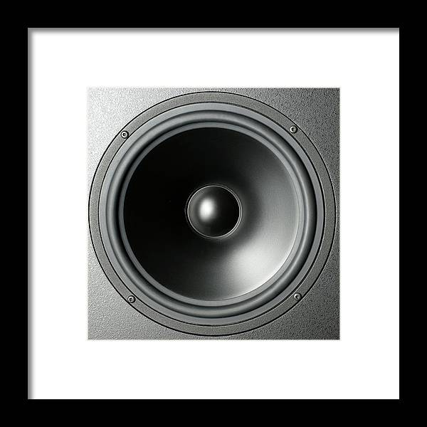 Black Color Framed Print featuring the photograph Audio Speaker Cone by Tony Cordoza