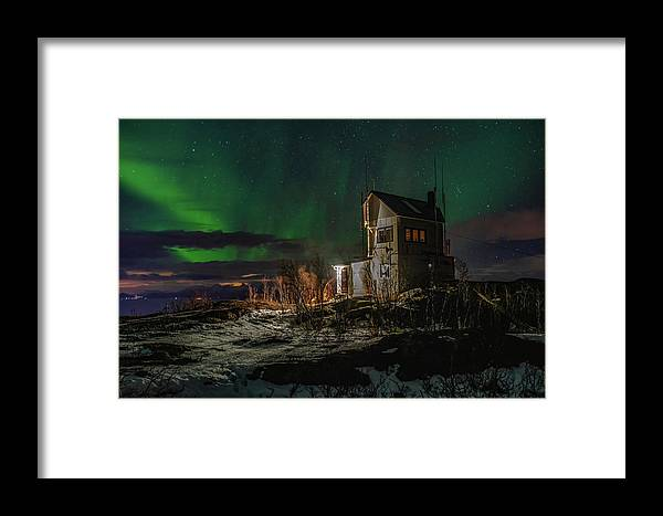 Aurora Borealis Framed Print featuring the photograph Aurora Over The Radio Station by Kai Mueller