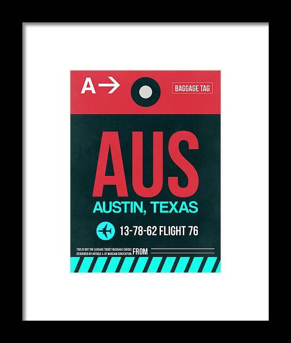 Vacation Framed Print featuring the digital art Aus Austin Luggage Tag II by Naxart Studio