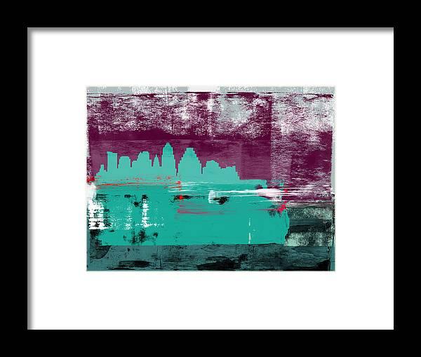 Austin Framed Print featuring the mixed media Austin Abstract Skyline II by Naxart Studio