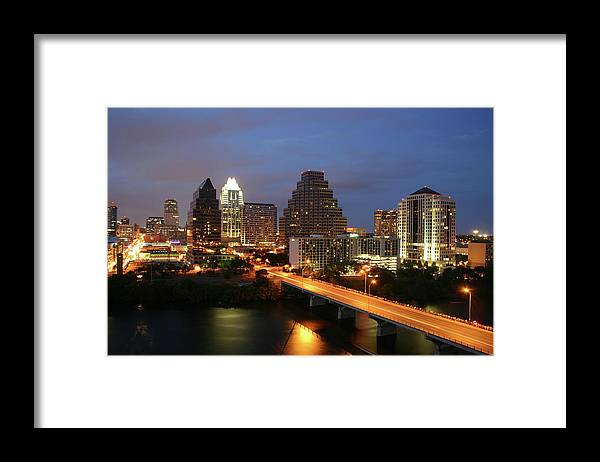 Water's Edge Framed Print featuring the photograph Austin Texas Skyline - Unique by Xjben