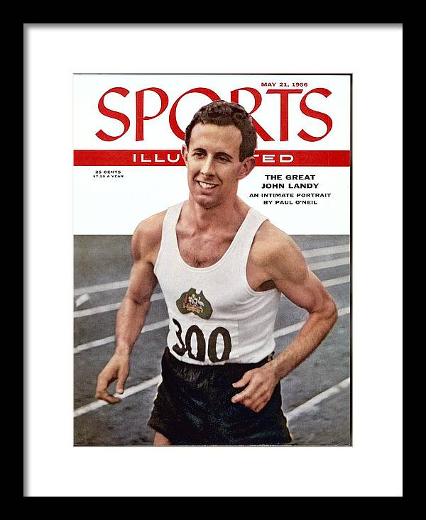 Magazine Cover Framed Print featuring the photograph Australia John Landy, 1954 British Empire And Commonwealth Sports Illustrated Cover by Sports Illustrated