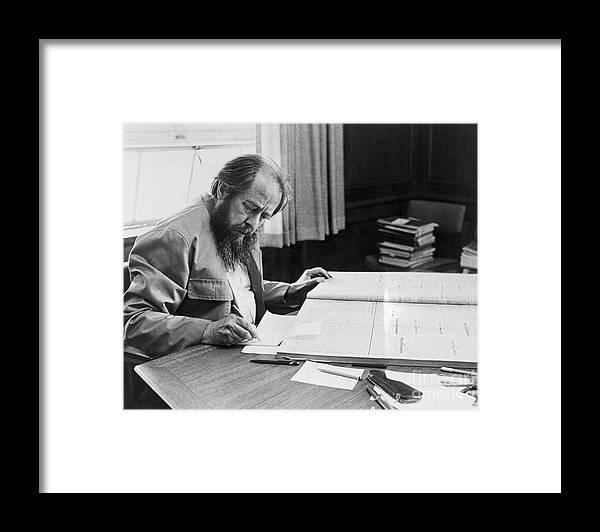 People Framed Print featuring the photograph Author Aleksandr Solzhenitsyn by Bettmann