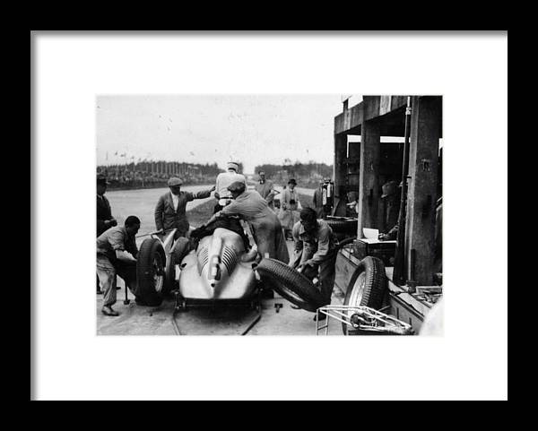 People Framed Print featuring the photograph Auto Union In The Pits During A Grand by Heritage Images