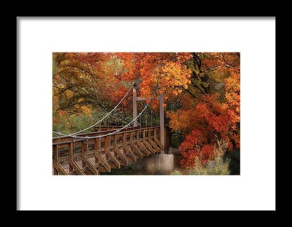 Autumn Framed Print featuring the photograph Autumn Across The Bridge by Saija Lehtonen