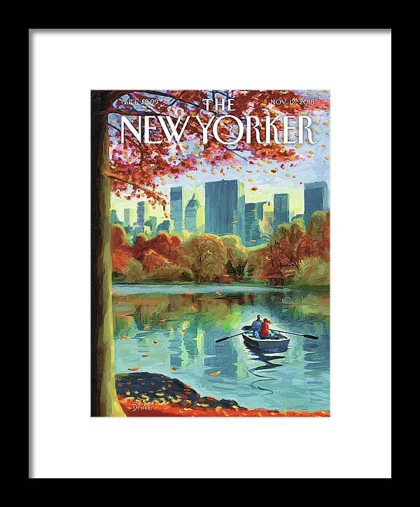 Autumn Central Park Framed Print featuring the drawing Autumn Central Park by Eric Drooker