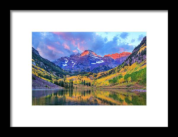 Scenics Framed Print featuring the photograph Autumn Colors At Maroon Bells And Lake by Dszc