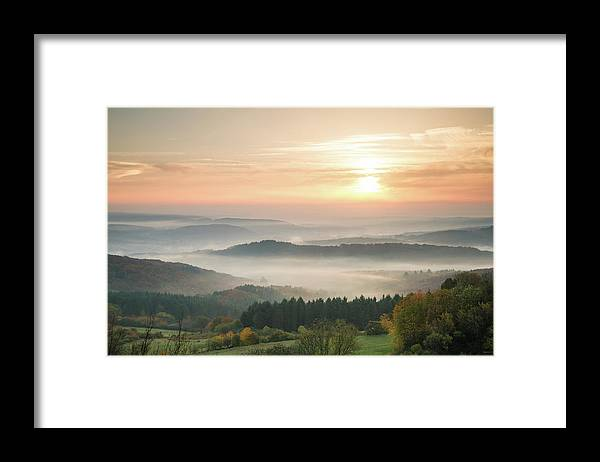 Scenics Framed Print featuring the photograph Autumn Foggy Sunrise by Marcoschmidt.net