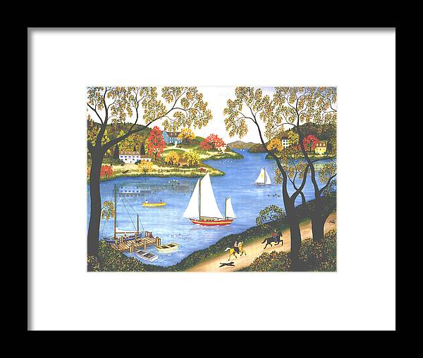 Contemporary Fine Art Landscape Framed Print featuring the painting Autumn Holiday by Linda Mears