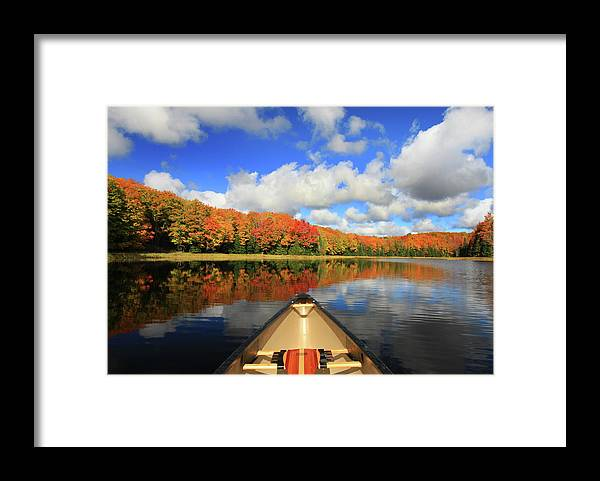 Scenics Framed Print featuring the photograph Autumn In A Canoe by Photos By Michael Crowley