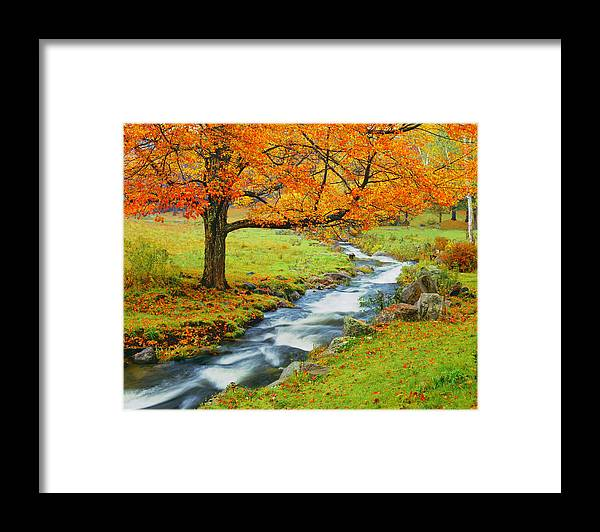 Scenics Framed Print featuring the photograph Autumn In Vermont G by Ron thomas