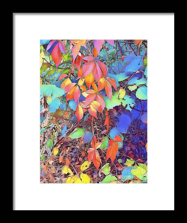 Autumn Framed Print featuring the digital art Autumn Leaves by Paola Baroni