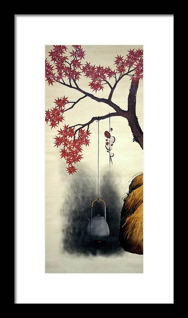 Shibata Zeshin Framed Print featuring the painting Autumn Maple, Shiitake Mushroom, Kettle - Digital Remastered Edition by Shibata Zeshin
