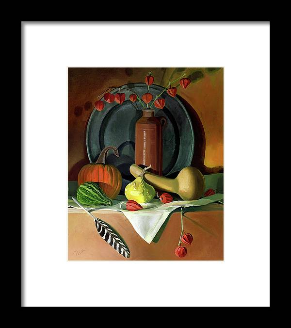 Still Life Framed Print featuring the painting Autumn Still Life by Nancy Griswold