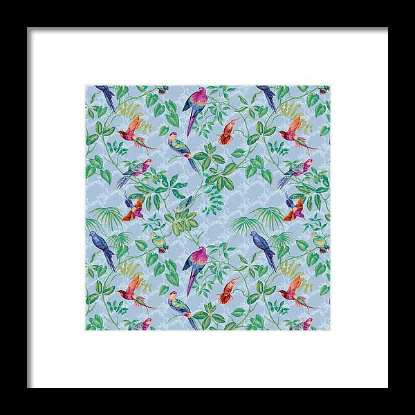 Aviary Small Scroll Periwinkle Framed Print featuring the digital art Aviary Small Scroll Periwinkle by Bill Jackson